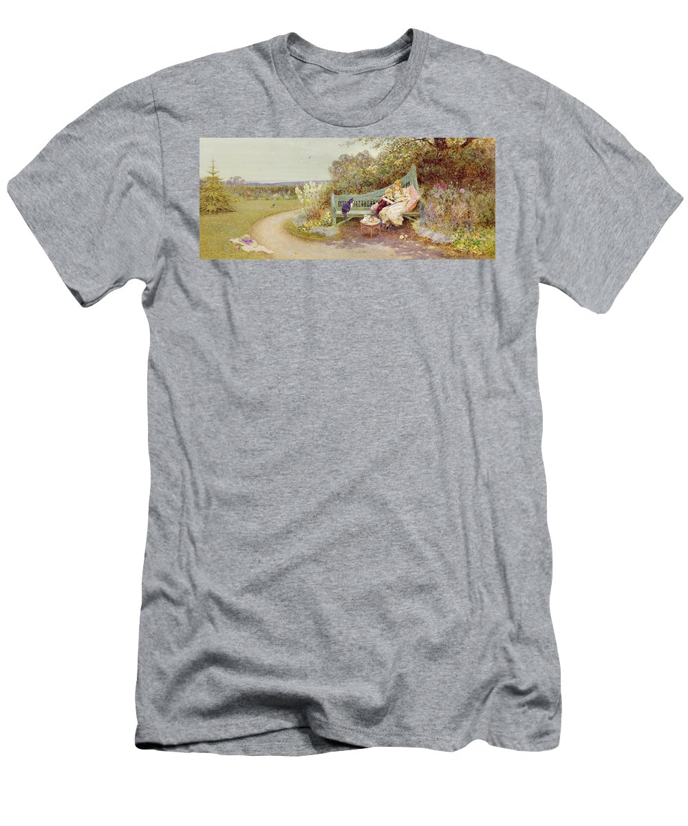 Edwardian Men's T-Shirt (Athletic Fit) featuring the painting The Picture Book by Thomas James Lloyd