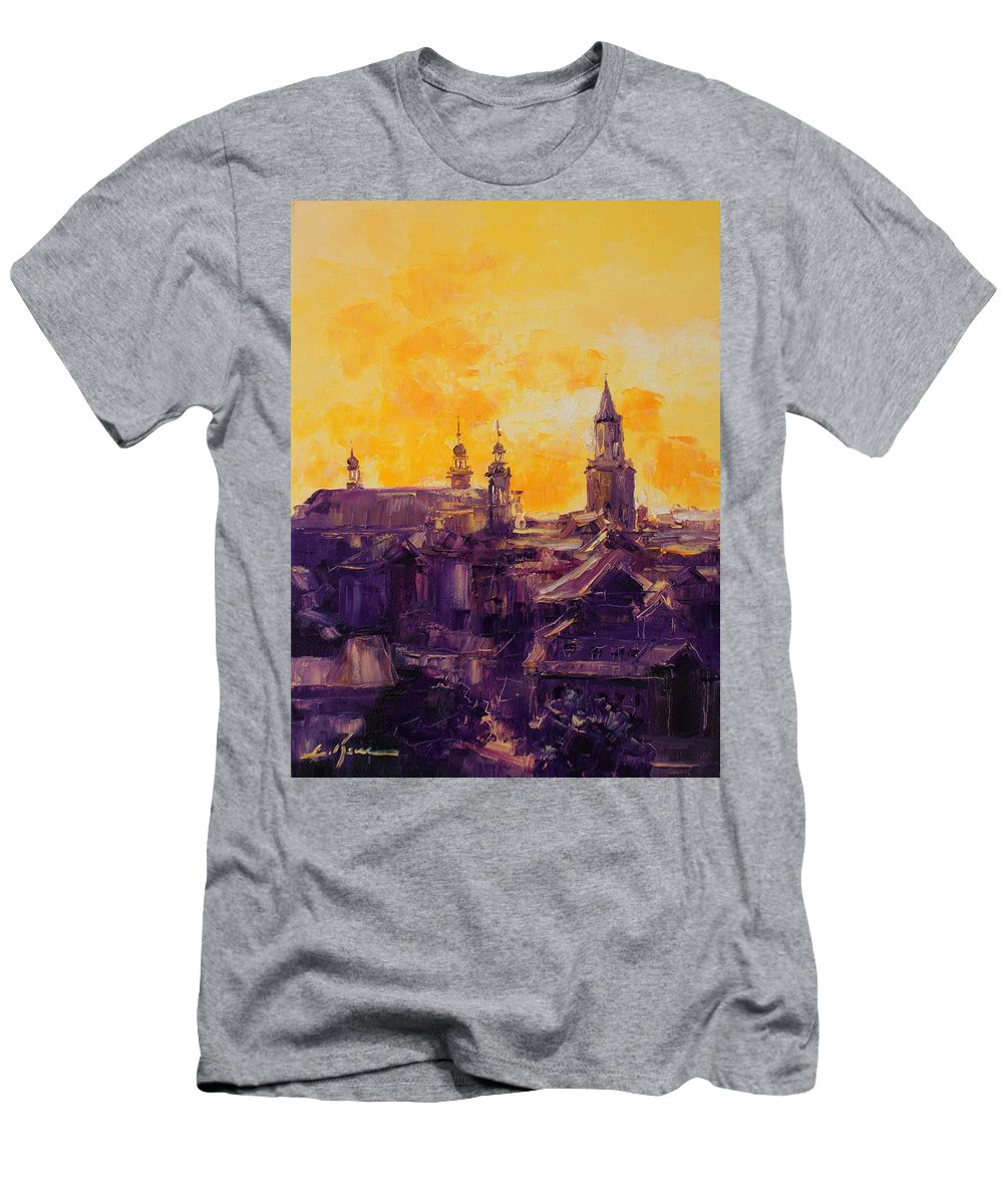 Lublin Men's T-Shirt (Athletic Fit) featuring the painting The Roofs Of Lublin by Luke Karcz