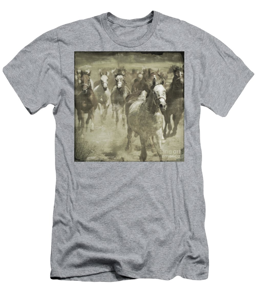 Horse Men's T-Shirt (Athletic Fit) featuring the photograph The Run For Freedom by Angel Tarantella