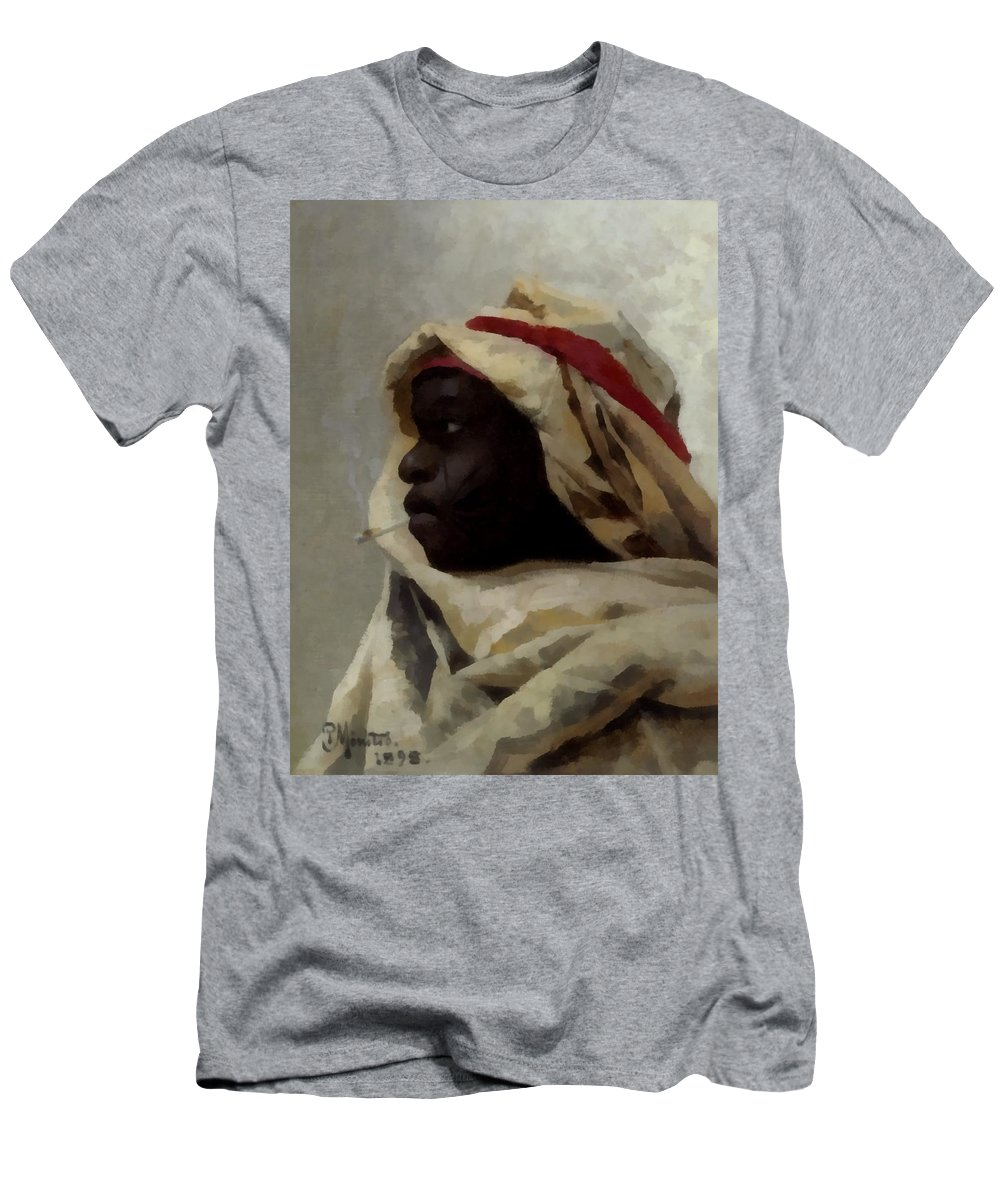 Peder Mork Monsted Men's T-Shirt (Athletic Fit) featuring the digital art The Smoking Moor by Peder Mork Monsted