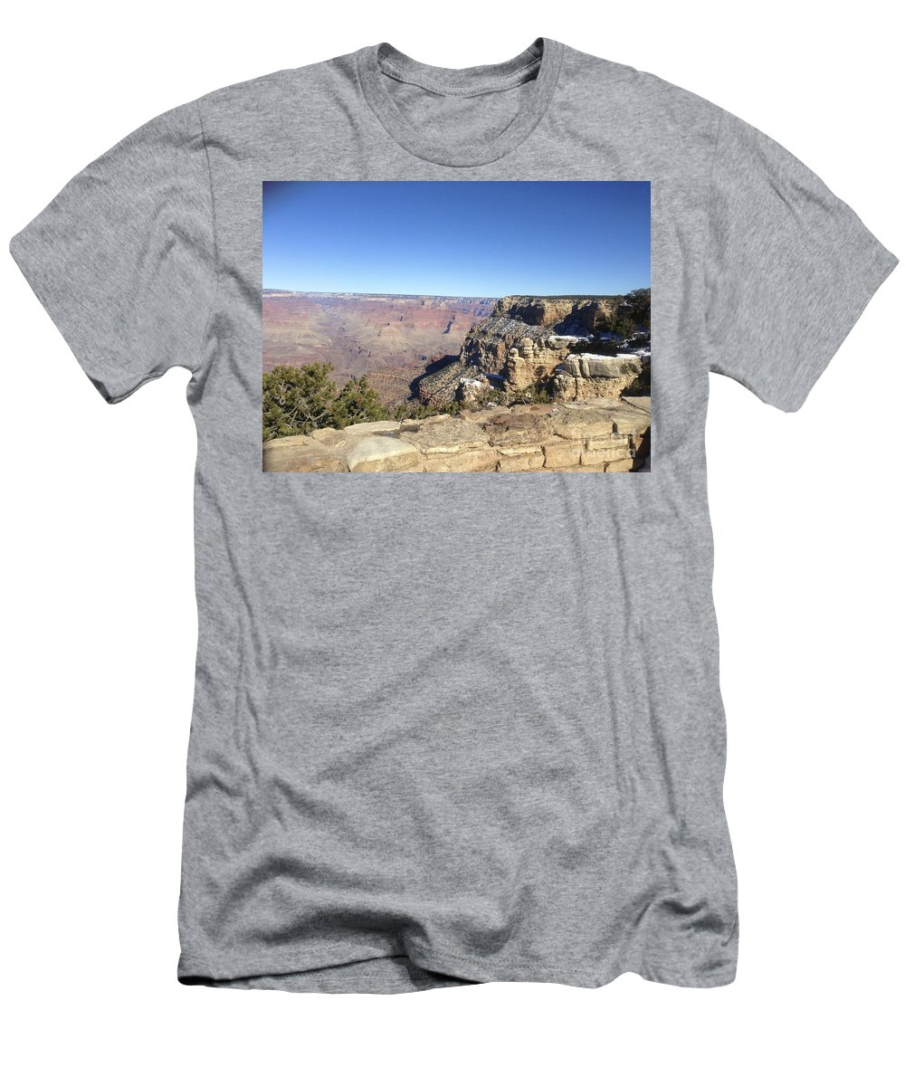 Grand Canyon Men's T-Shirt (Athletic Fit) featuring the photograph The South Rim In The Winter by Christy Gendalia