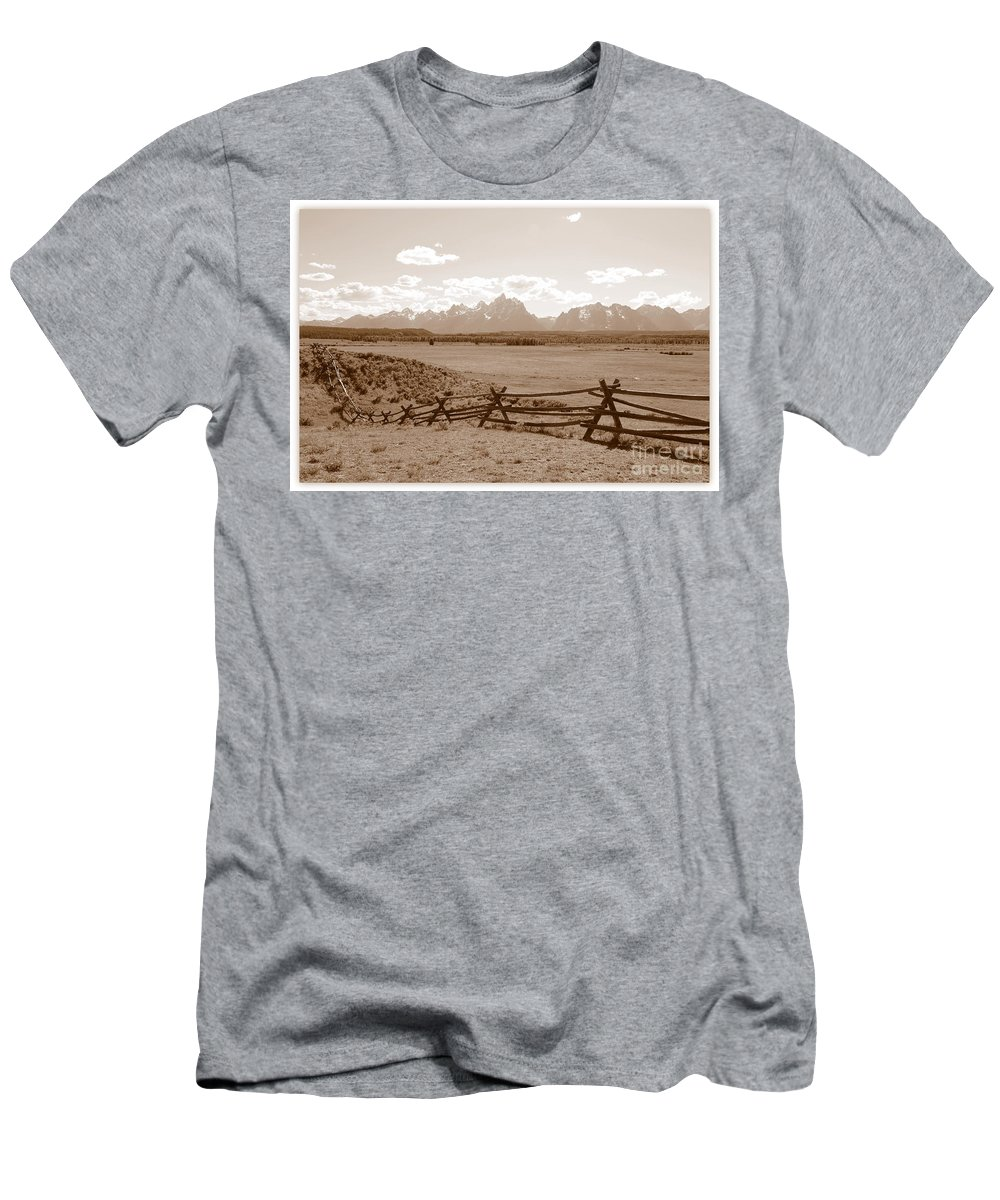 The Tetons Men's T-Shirt (Athletic Fit) featuring the photograph The Tetons In Sepia by Carol Groenen