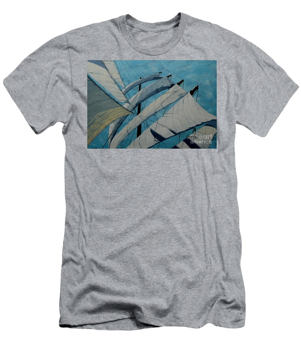 Sails Men's T-Shirt (Athletic Fit) featuring the painting The Tower Of Power by Anthony Dunphy