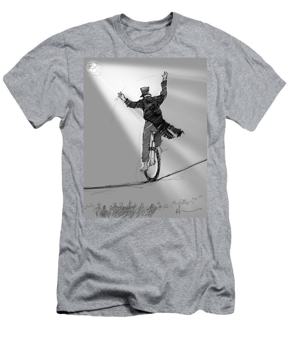 Unicycle Men's T-Shirt (Athletic Fit) featuring the digital art The Unicyclist by H James Hoff