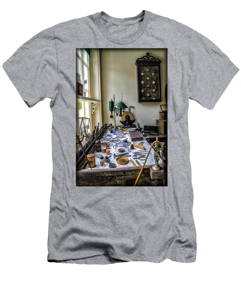 Watch Men's T-Shirt (Athletic Fit) featuring the photograph The Watch Repair Shop by Bill Cannon