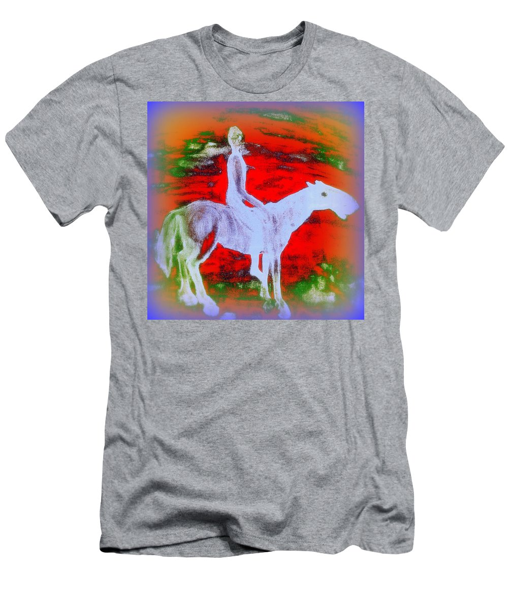 Rider Men's T-Shirt (Athletic Fit) featuring the painting You Ride The Way You Ride But Where  by Hilde Widerberg