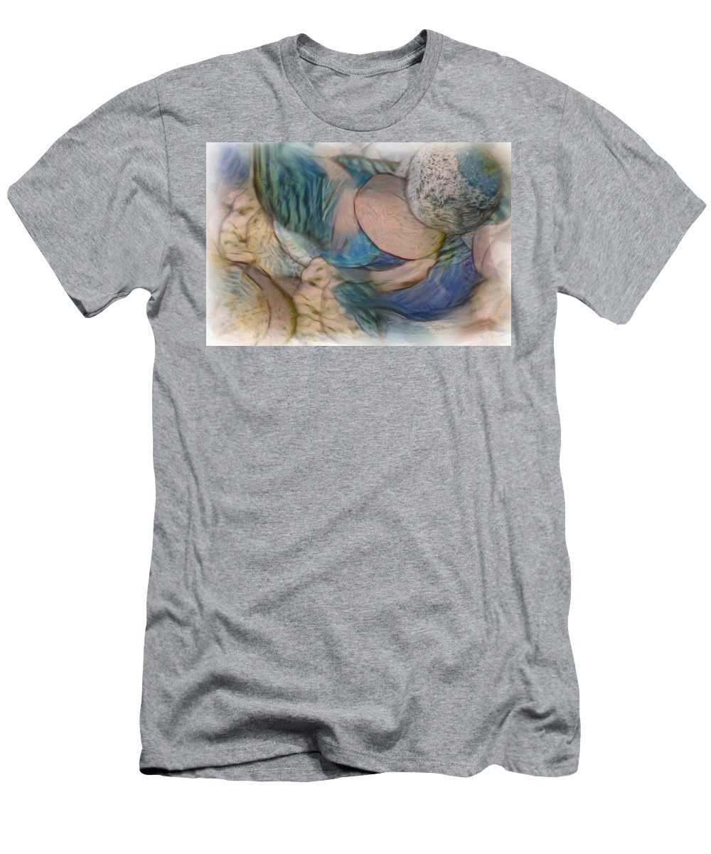 World Men's T-Shirt (Athletic Fit) featuring the mixed media The World On My Shoulders by Trish Tritz