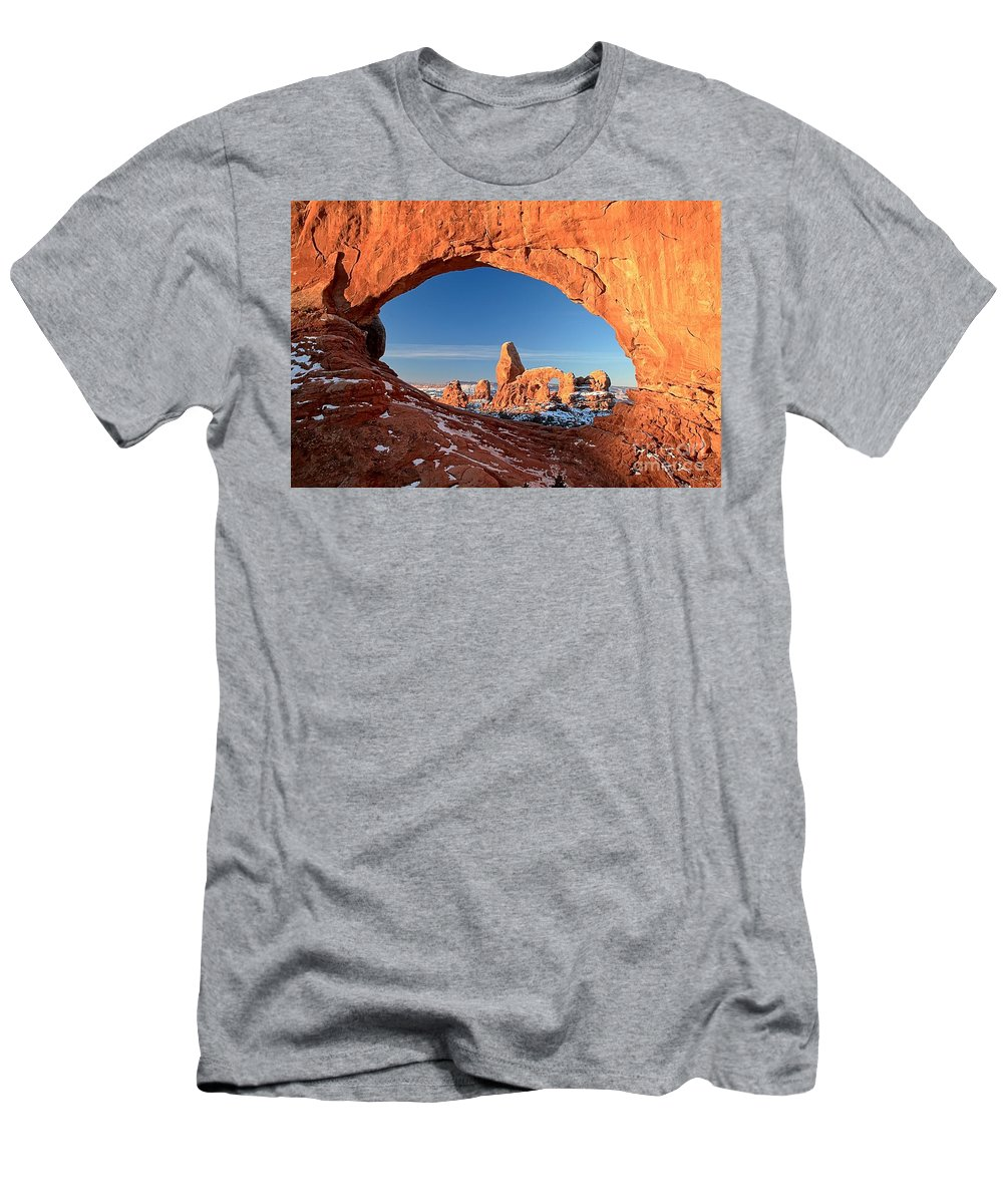 Turret Arch Men's T-Shirt (Athletic Fit) featuring the photograph Thick Window Arround Turret by Adam Jewell