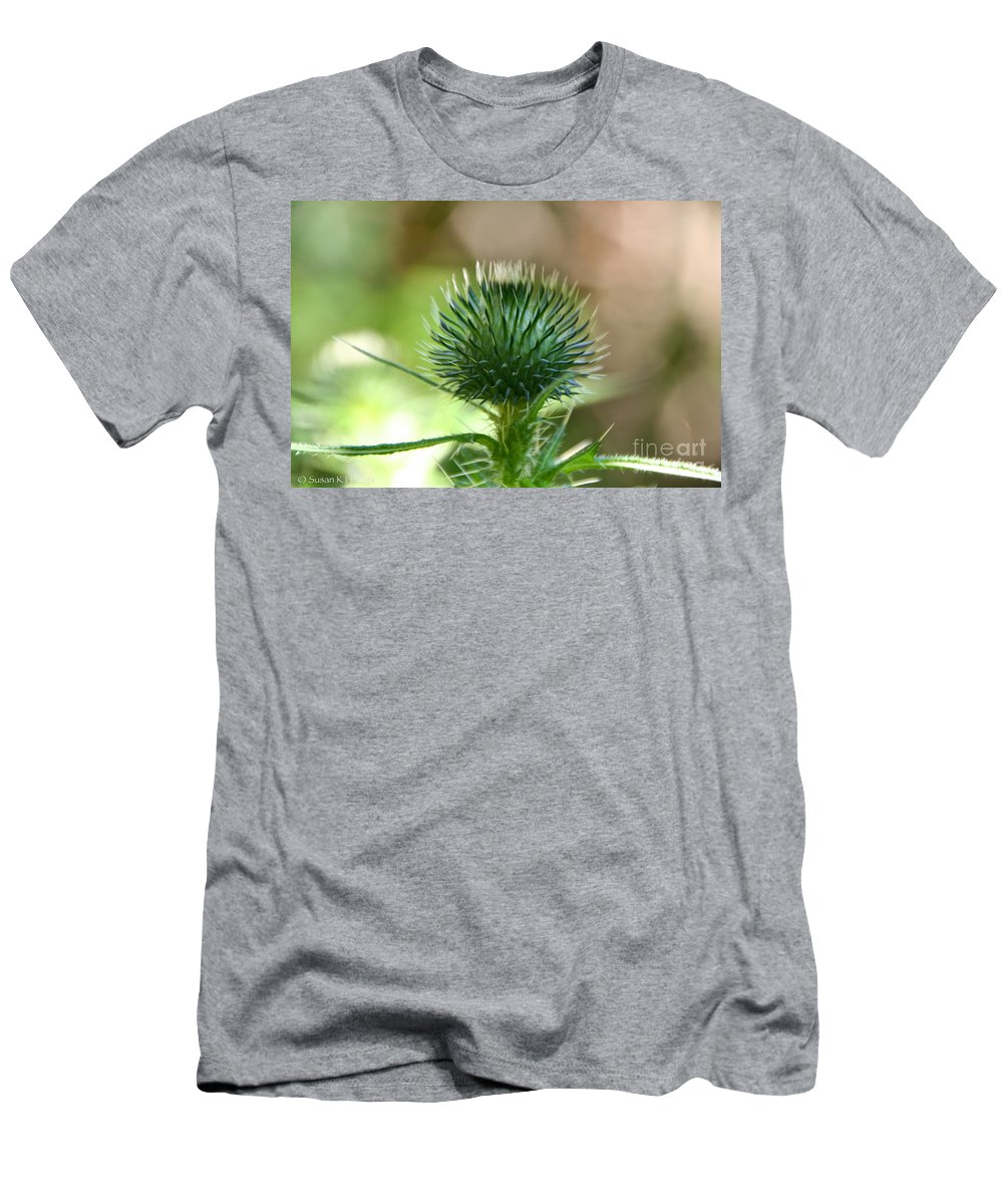 Flower Men's T-Shirt (Athletic Fit) featuring the photograph Thistle Head by Susan Herber
