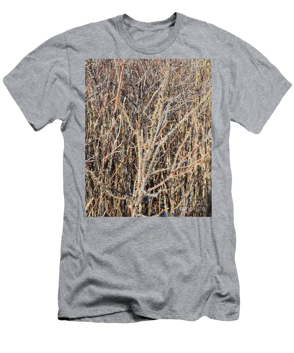 Thorn Men's T-Shirt (Athletic Fit) featuring the photograph Thorny Wall by Meandering Photography