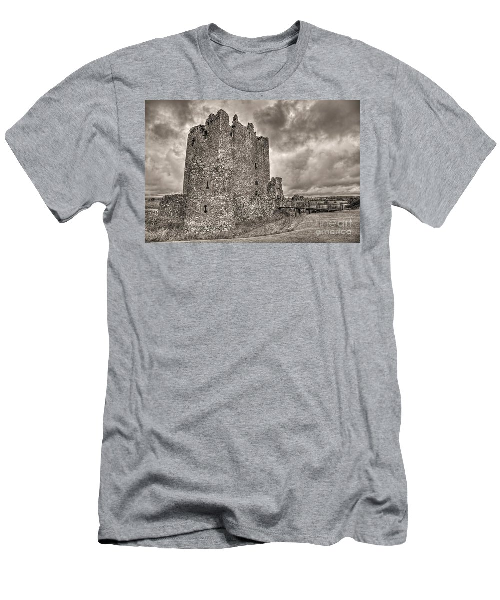 Black And White Men's T-Shirt (Athletic Fit) featuring the photograph Threave Castle In Grey by James Anderson