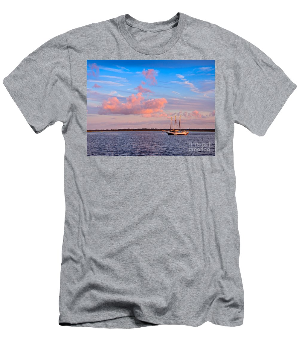 Three Men's T-Shirt (Athletic Fit) featuring the photograph Three Masted Schooner At Anchor In The St Marys River by Louise Heusinkveld