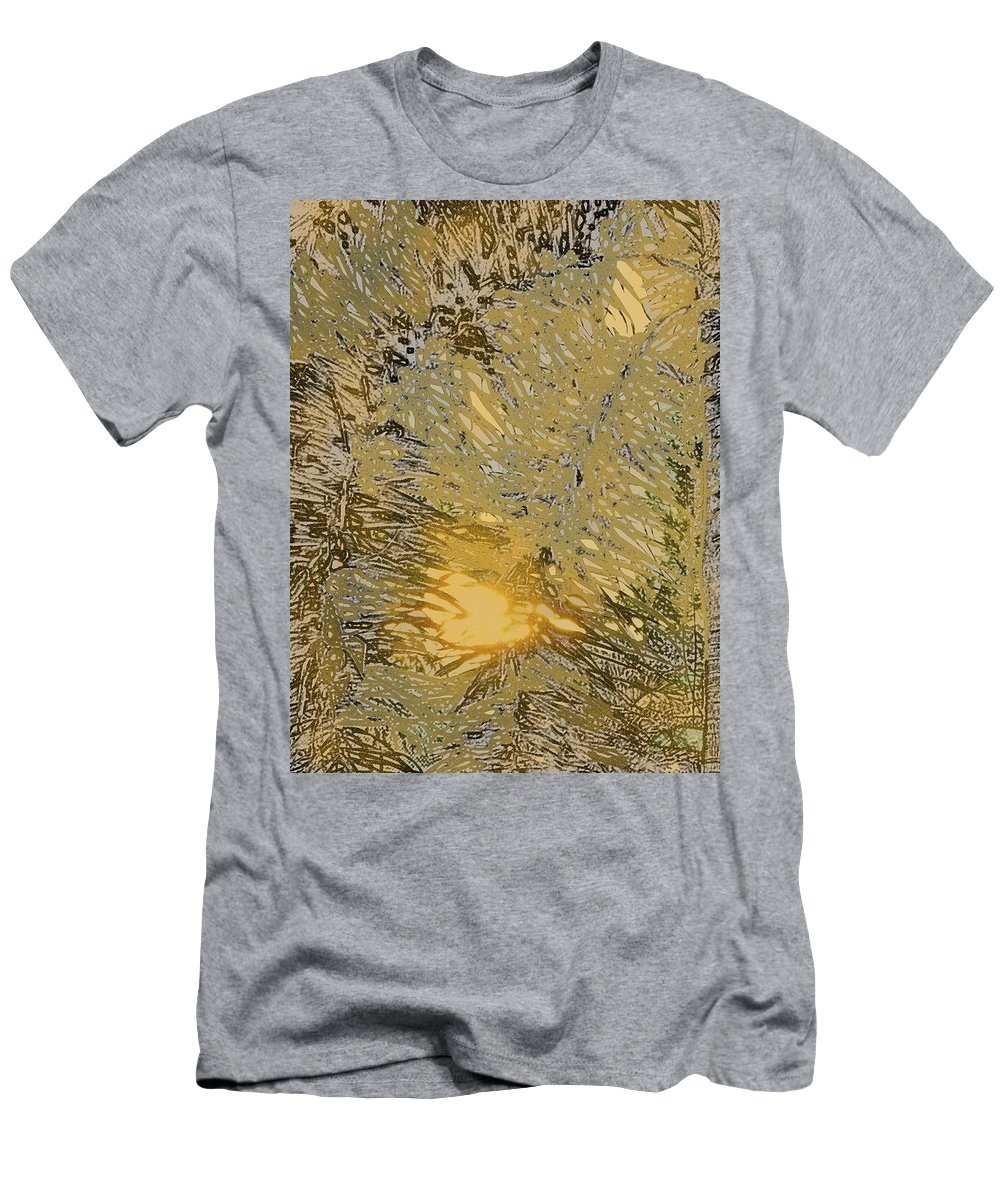 Palm Men's T-Shirt (Athletic Fit) featuring the digital art Through The Palm Leaves by Ian MacDonald