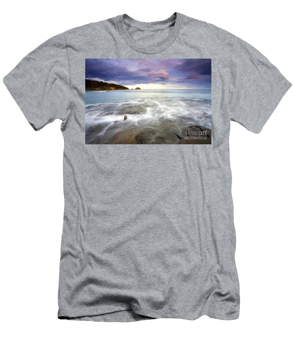 Tesselated Men's T-Shirt (Athletic Fit) featuring the photograph Tide Covered Pavement by Mike Dawson