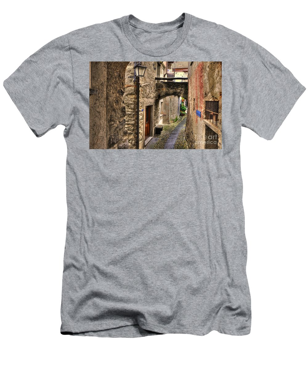 Alley Men's T-Shirt (Athletic Fit) featuring the photograph Tight Alley With A Bridge by Mats Silvan