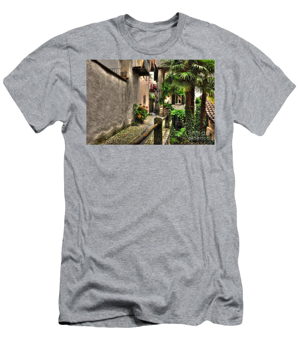 Alley Men's T-Shirt (Athletic Fit) featuring the photograph Tight Alley With Palm Trees by Mats Silvan