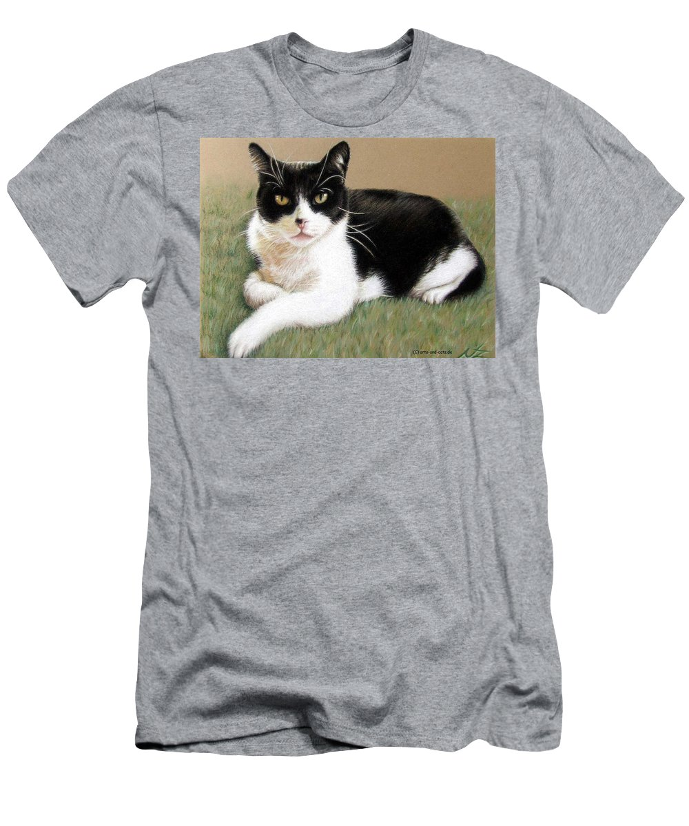 Cat Men's T-Shirt (Athletic Fit) featuring the pastel Tomcat Baloo by Nicole Zeug