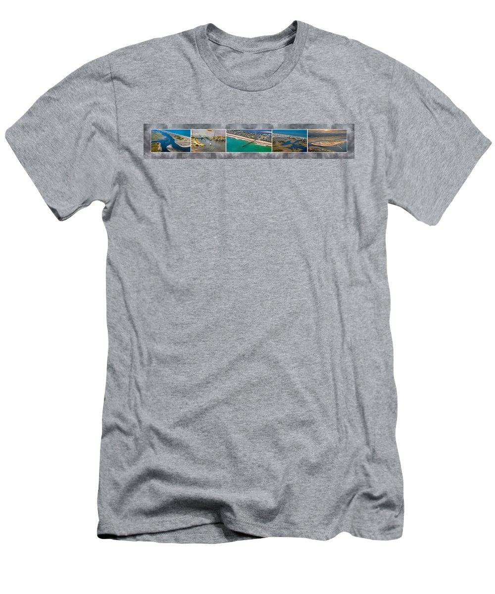 Topsial Men's T-Shirt (Athletic Fit) featuring the photograph Topsail Island Aerial Panels II by Betsy Knapp