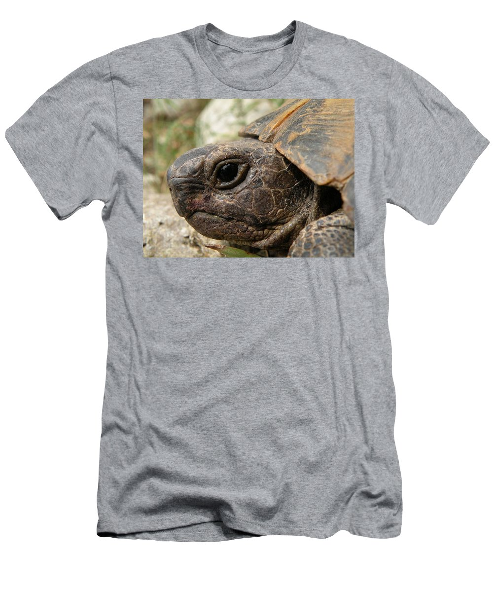 Animals Men's T-Shirt (Athletic Fit) featuring the photograph Tortoise Portrait In Macro by Taiche Acrylic Art