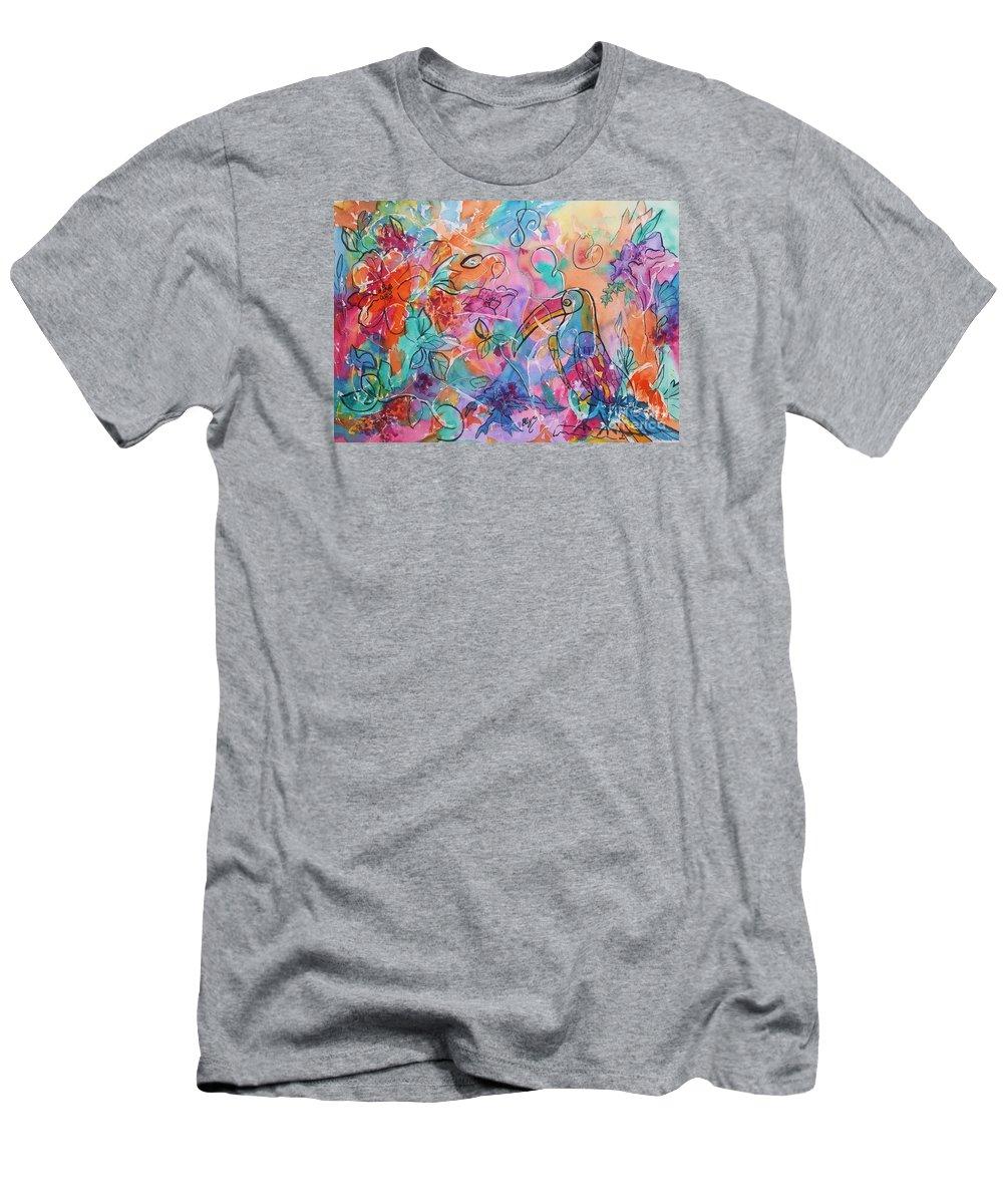 Toucan Men's T-Shirt (Athletic Fit) featuring the painting Toucan Dreams by Ellen Levinson