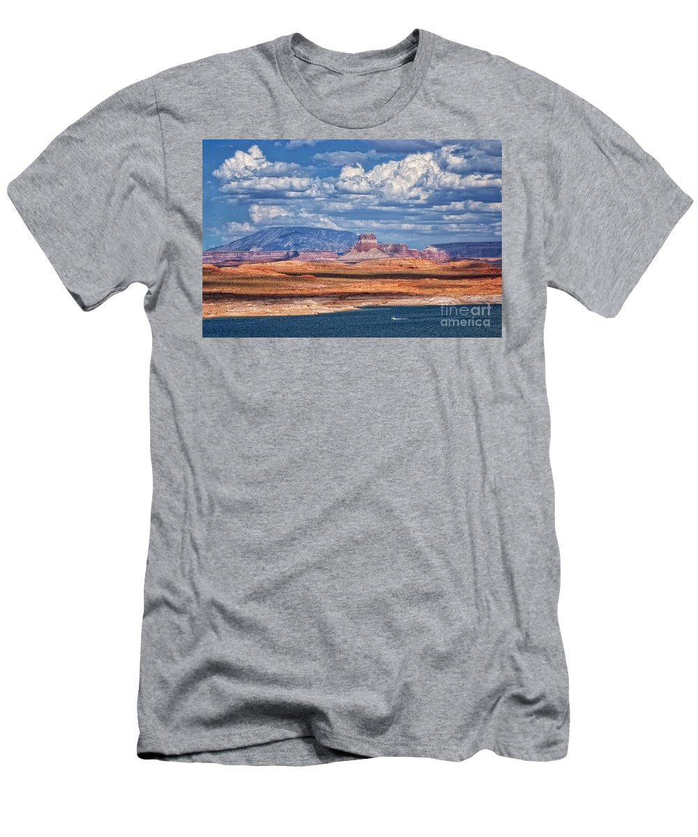 Lake Powell Men's T-Shirt (Athletic Fit) featuring the photograph Tower Butte by Claudia Kuhn