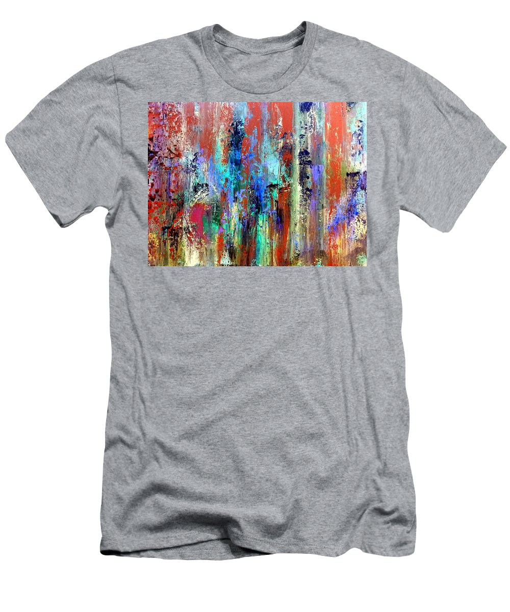 Abstract Art Men's T-Shirt (Athletic Fit) featuring the digital art Traces Of Red by Tina Vaughn