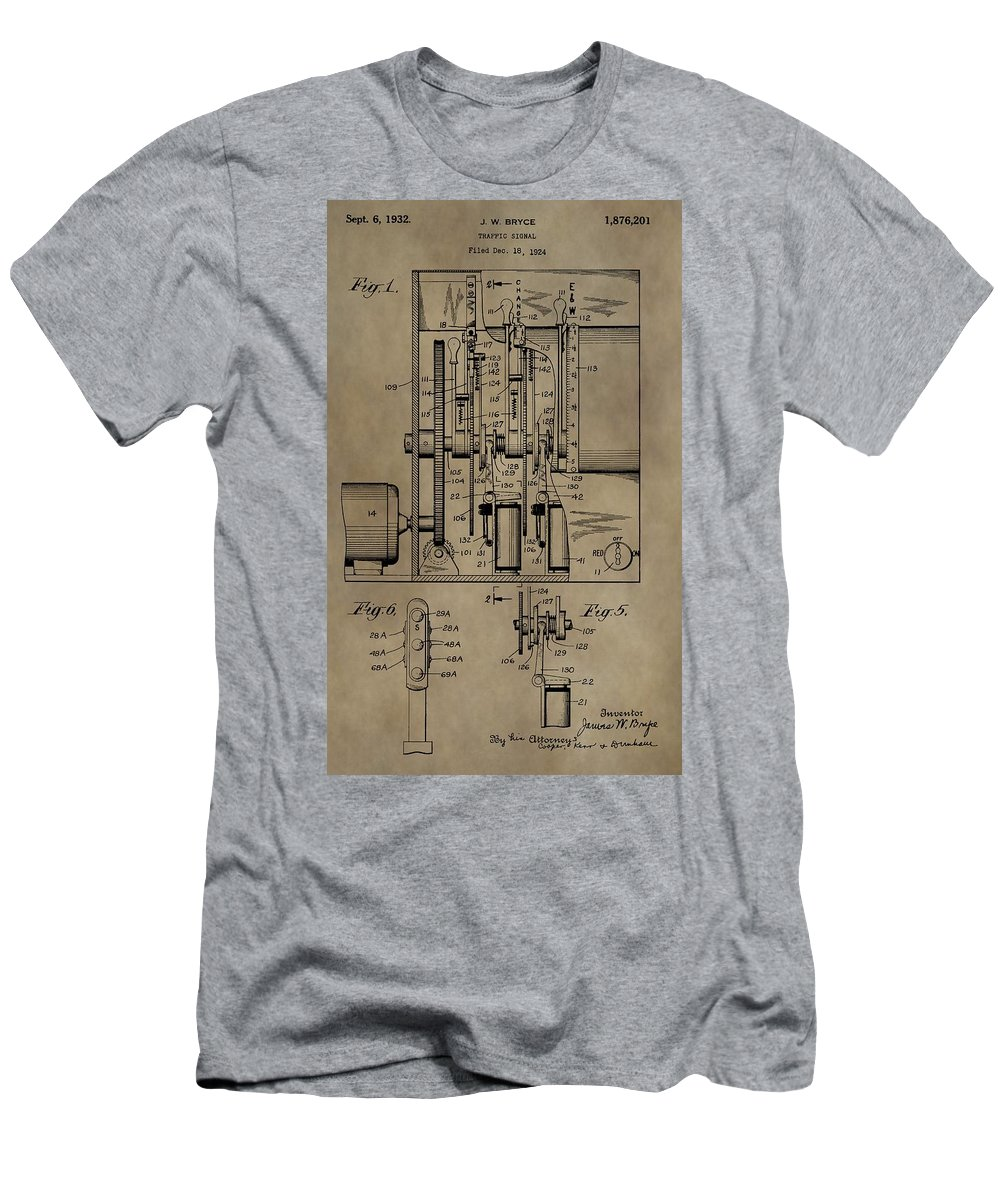 Traffic Signal Patent Men's T-Shirt (Athletic Fit) featuring the mixed media Traffic Signal Patent by Dan Sproul