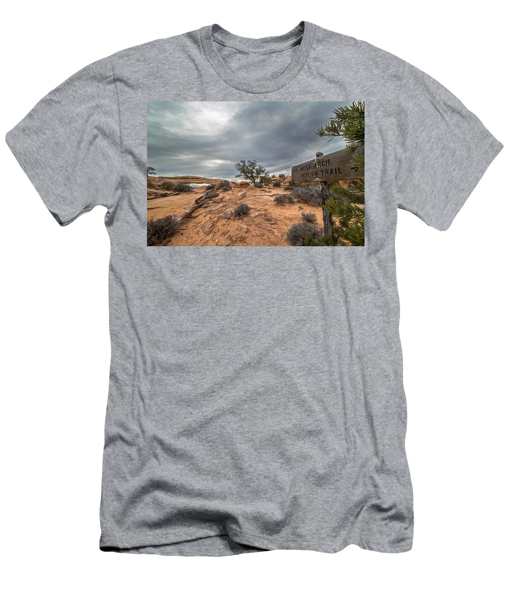 Canyonlands National Park Men's T-Shirt (Athletic Fit) featuring the photograph Trail To Mesa Arch by Jeff Stoddart