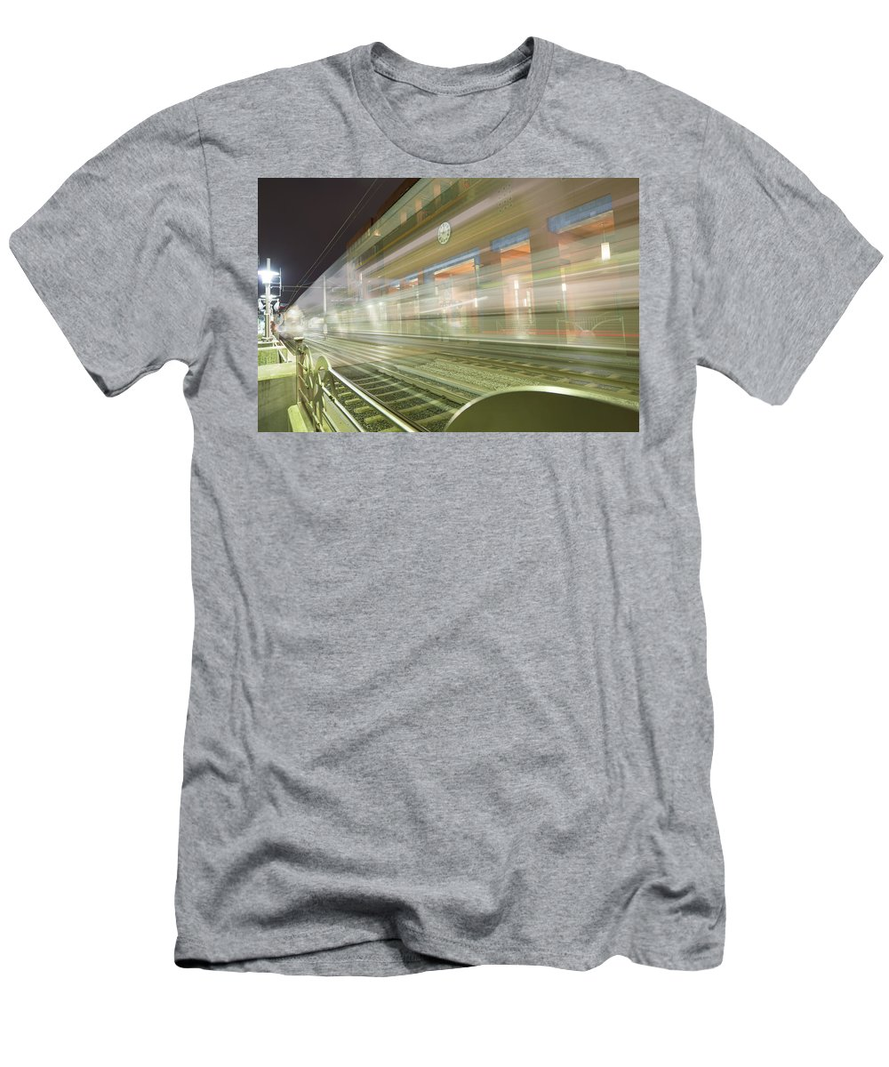 Pasadena Men's T-Shirt (Athletic Fit) featuring the photograph Transparent Trains by Mike Herdering