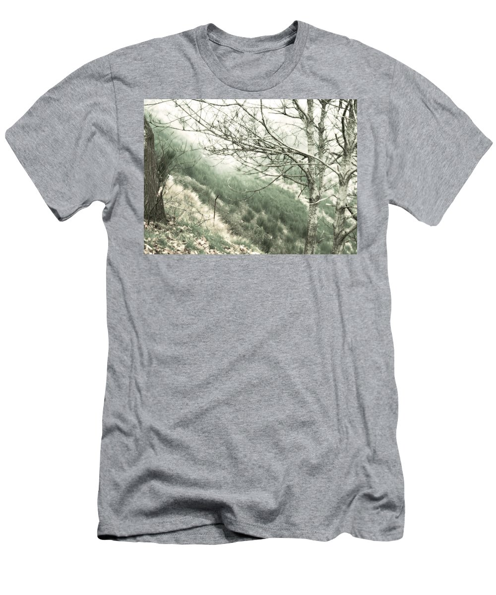 Funchal Men's T-Shirt (Athletic Fit) featuring the photograph Trees On A Mountain by Tracy Winter