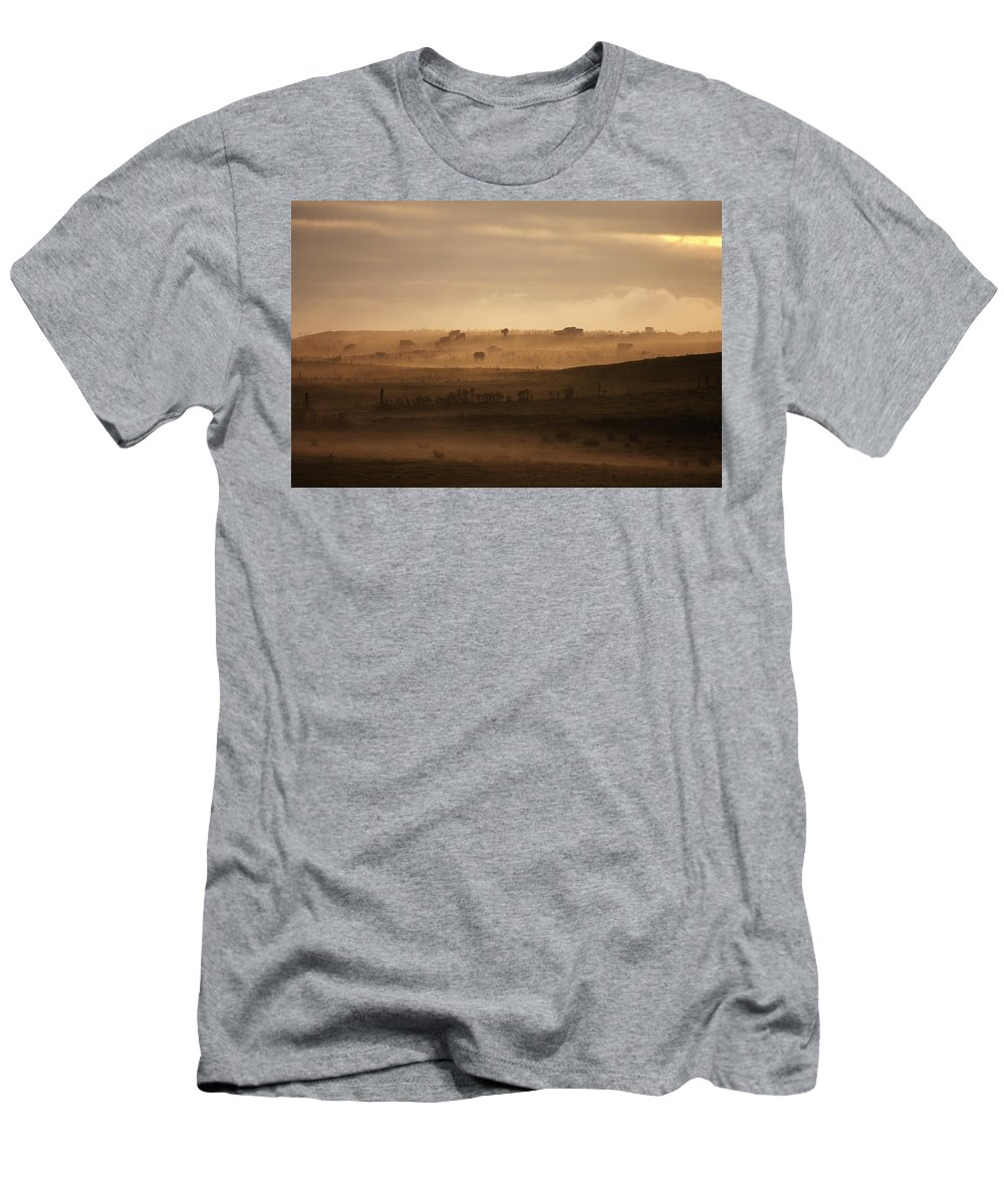 Tree Men's T-Shirt (Athletic Fit) featuring the photograph Trees Scattered Over The Hills In The by John Short