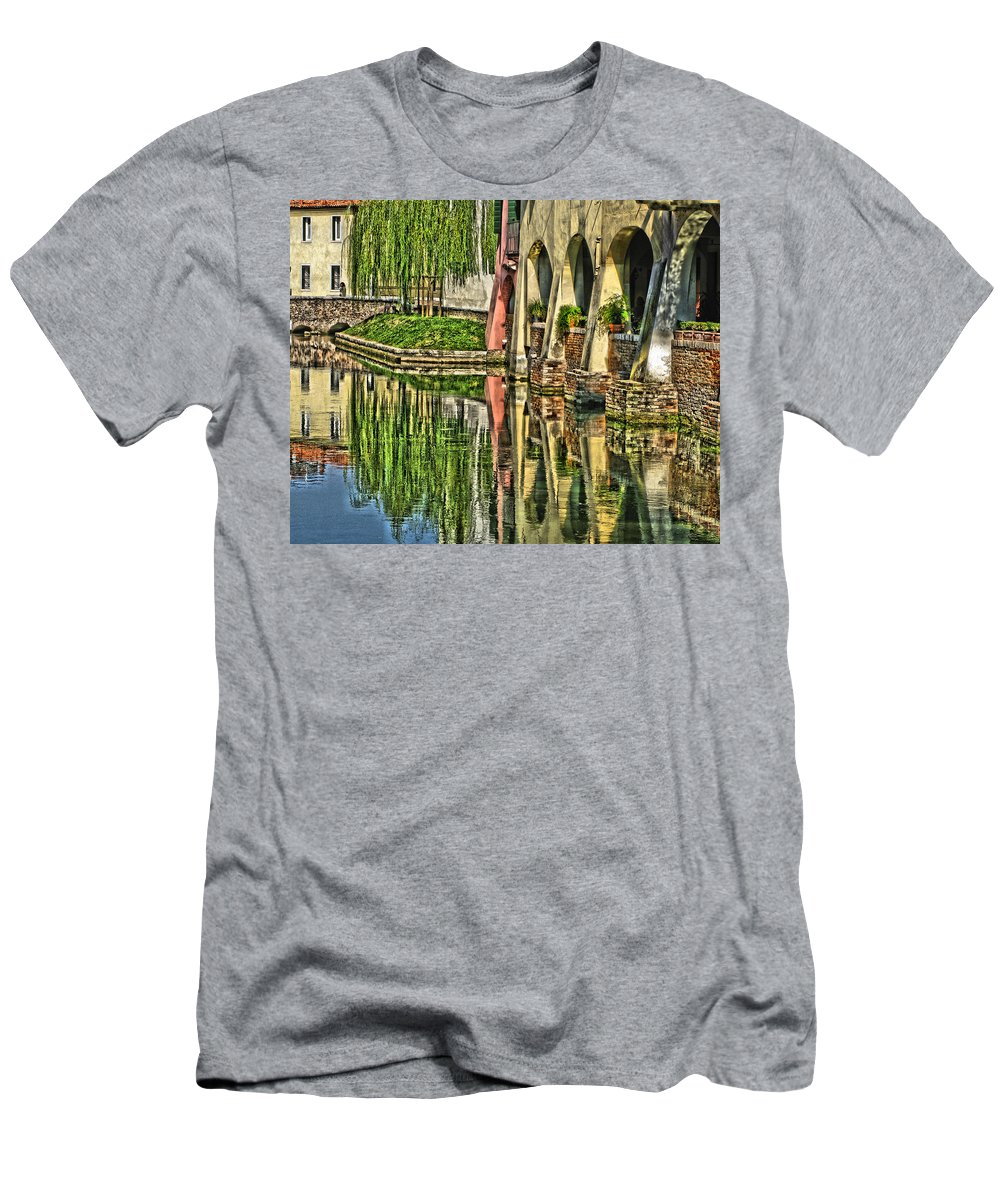 Canal Reflections Men's T-Shirt (Athletic Fit) featuring the digital art Treviso Canal And Reflections by Greg Matchick