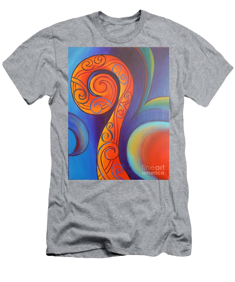 Reina Cottier Men's T-Shirt (Athletic Fit) featuring the painting Tribal Koru Red by Reina Cottier