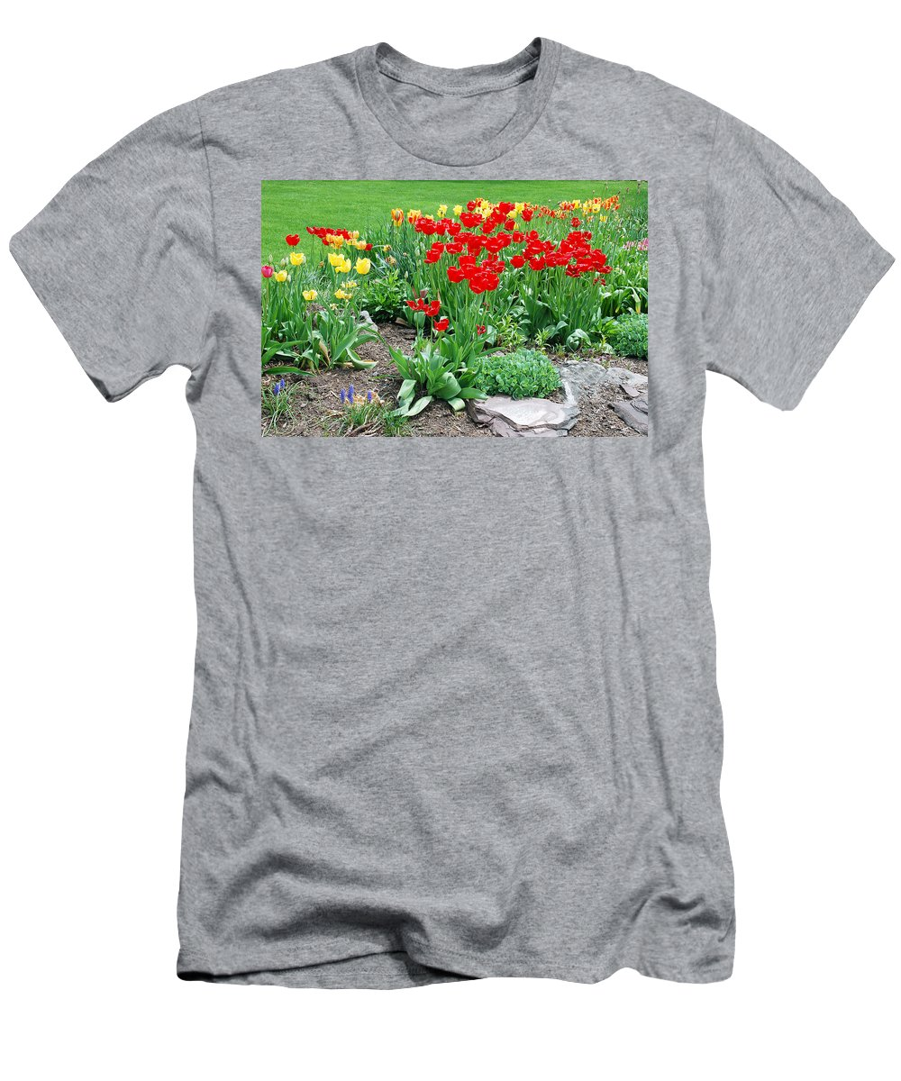 Tulip Men's T-Shirt (Athletic Fit) featuring the photograph Tulip Gardenscape by Aimee L Maher ALM GALLERY