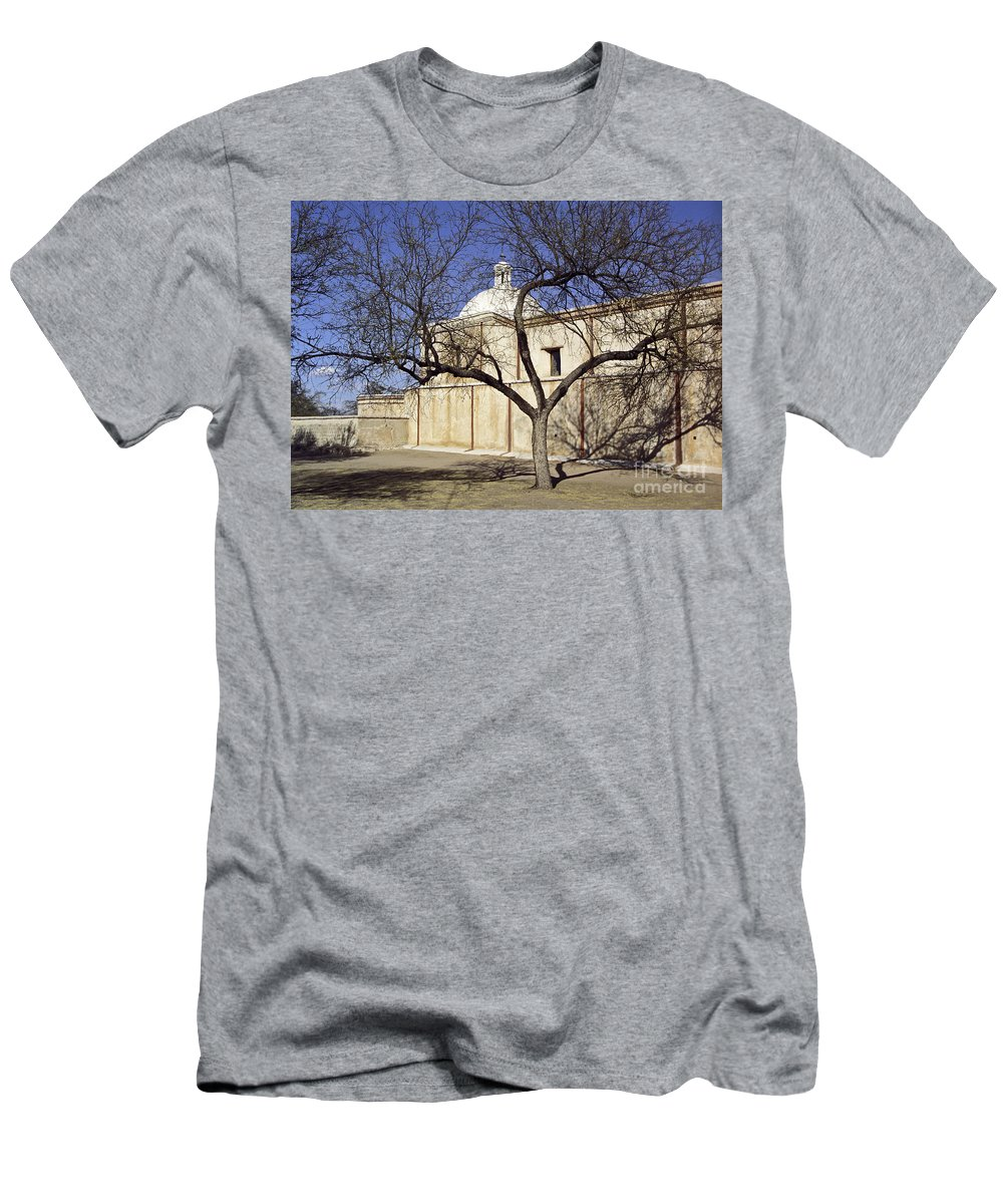Mission Men's T-Shirt (Athletic Fit) featuring the photograph Tumacacori With Tree by Kathy McClure
