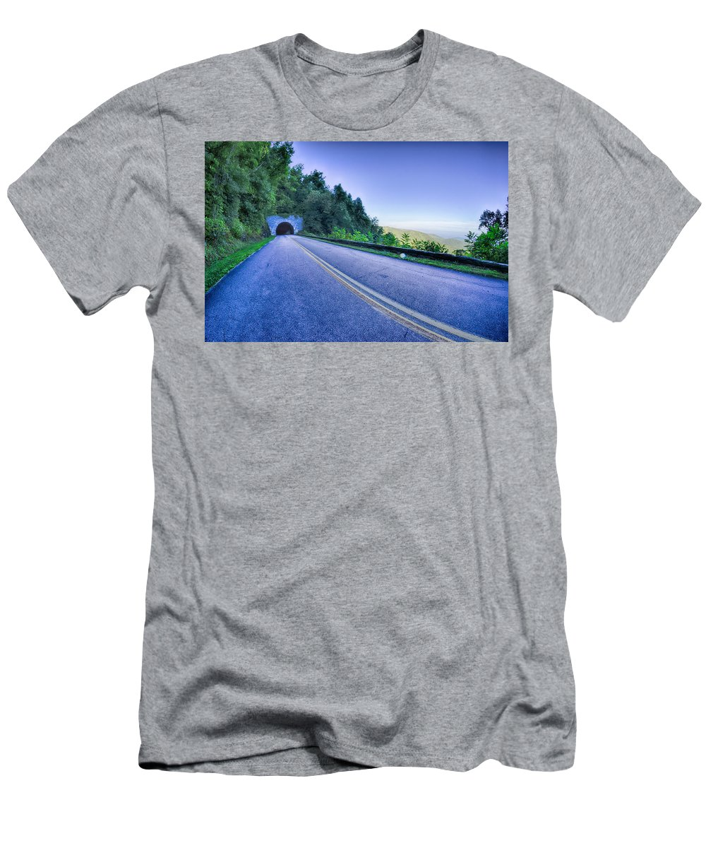 Mountains Men's T-Shirt (Athletic Fit) featuring the photograph Tunnel Through Mountains On Blue Ridge Parkway In The Morning by Alex Grichenko