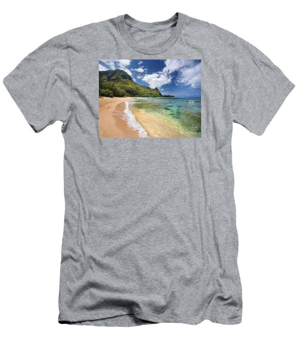 Afternoon Men's T-Shirt (Athletic Fit) featuring the photograph Tunnels Beach Bali Hai Point by M Swiet Productions