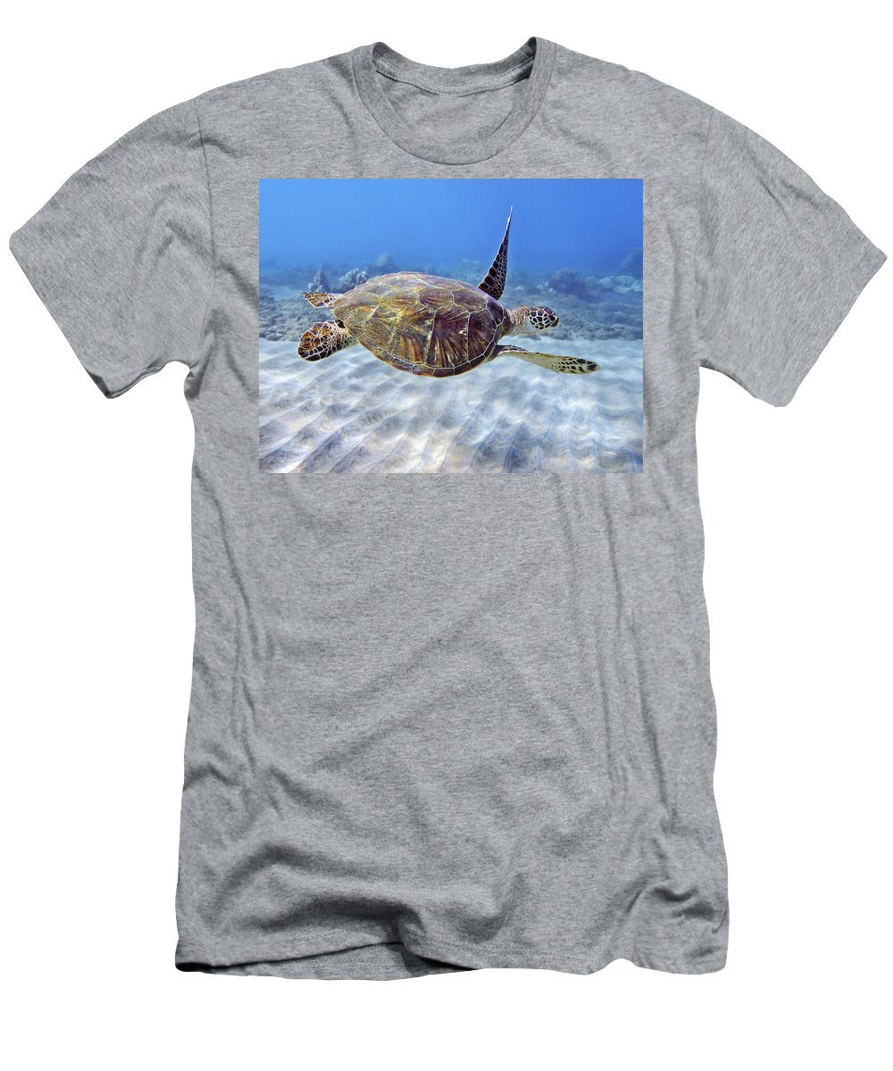 Beautiful Men's T-Shirt (Athletic Fit) featuring the photograph Turtle Underwater 3 by M Swiet Productions