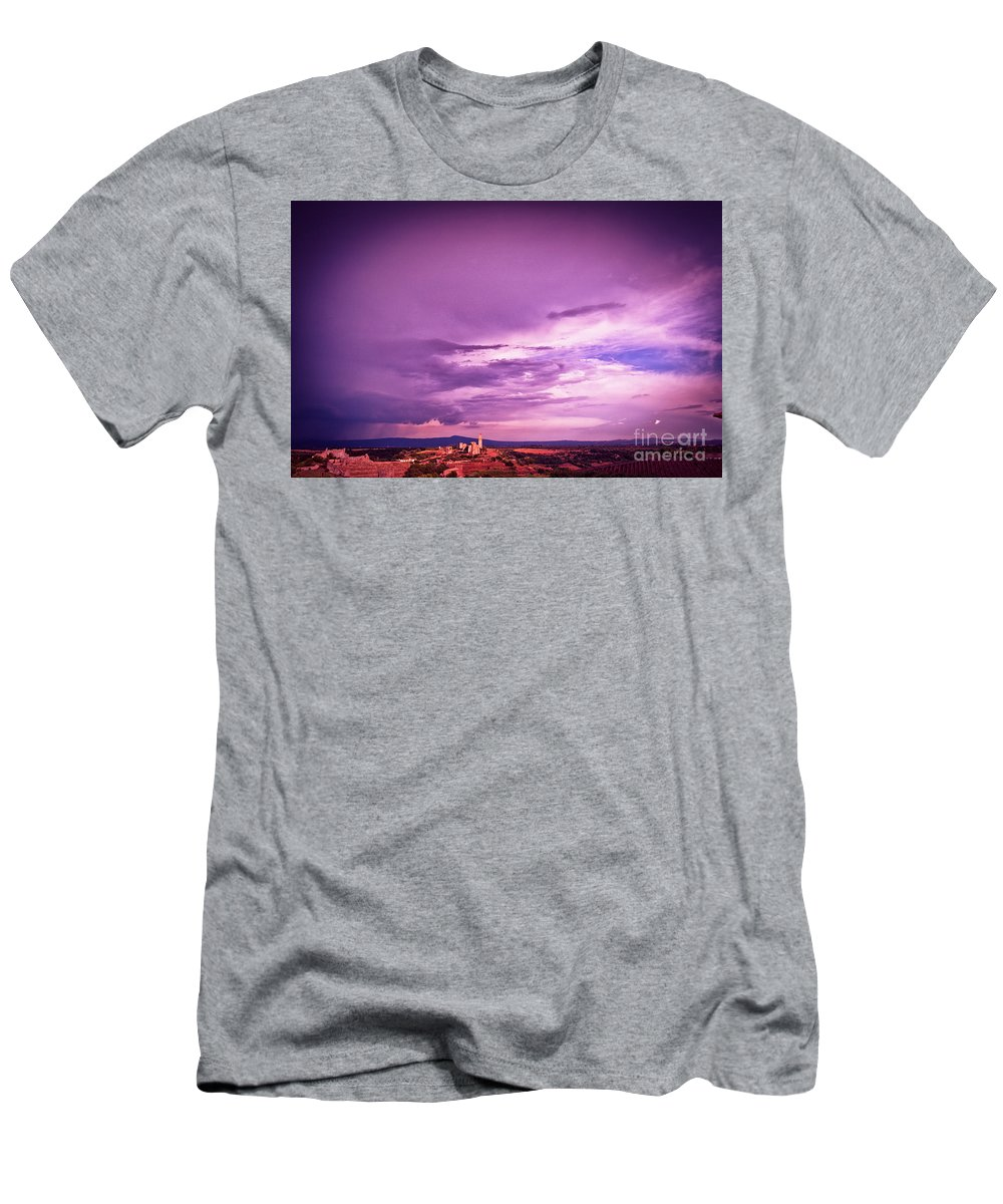 Italian Men's T-Shirt (Athletic Fit) featuring the photograph Tuscania Village With Approaching Storm Italy by Silvia Ganora