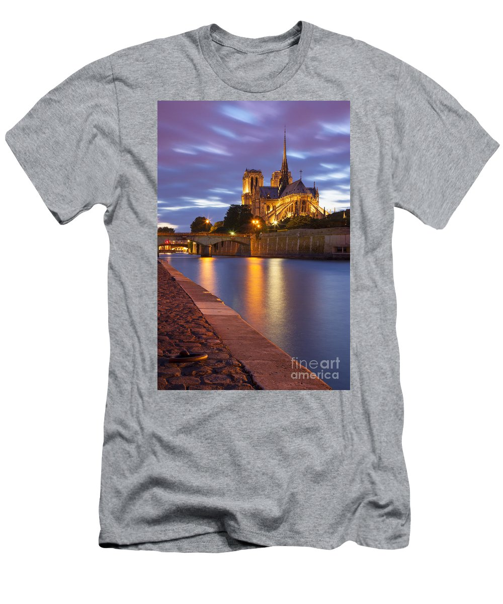 Architectural Men's T-Shirt (Athletic Fit) featuring the photograph Twilight Over Notre Dame by Brian Jannsen