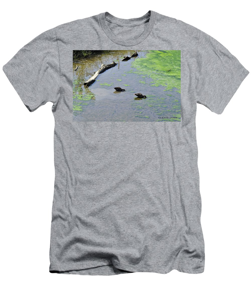 Two Eating Ducks Art Men's T-Shirt (Athletic Fit) featuring the photograph Two Eating Ducks by Verana Stark