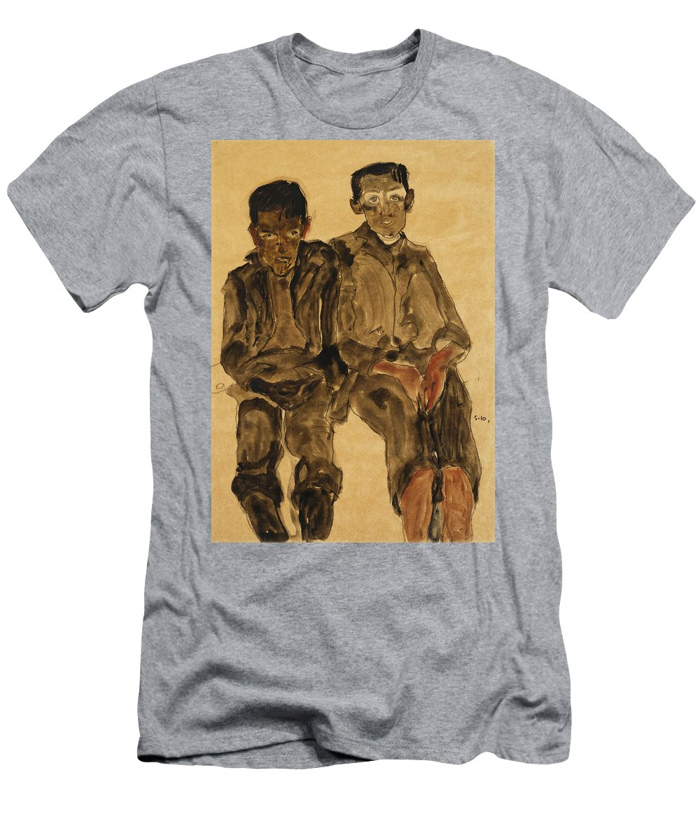 Austrian Art; Austrian Artist; Aversion; Boys Men's T-Shirt (Athletic Fit) featuring the painting Two Seated Boys by Egon Schiele