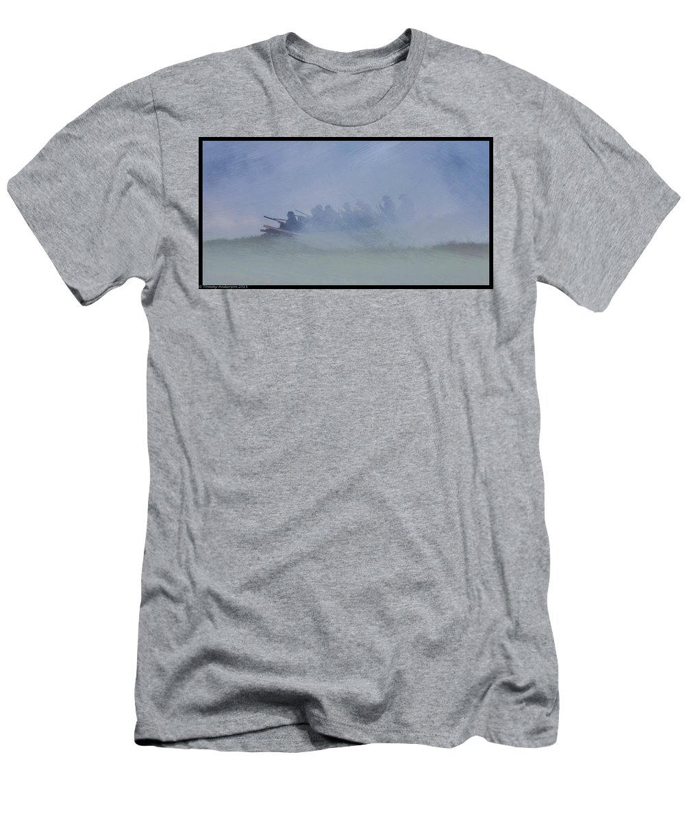 Civil War Men's T-Shirt (Athletic Fit) featuring the digital art Union Infantry Line In Oil by Tommy Anderson