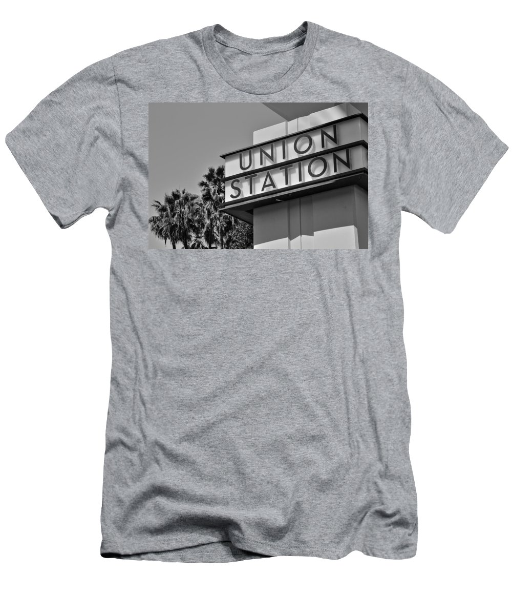 Black And White Union Station Men's T-Shirt (Athletic Fit) featuring the photograph Union Station Sign Black And White by Richard Cheski