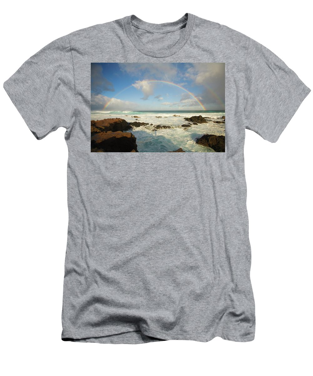 Arch T-Shirt featuring the photograph Usa, Hawaii, Rainbow Offshore by Ron Dahlquist