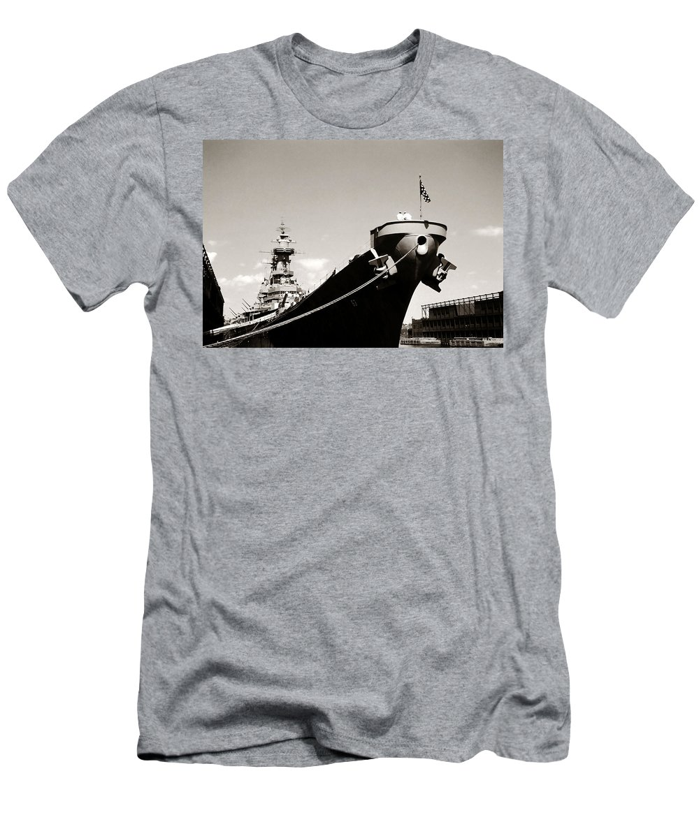 Uss Men's T-Shirt (Athletic Fit) featuring the photograph Uss Missouri by Marilyn Hunt
