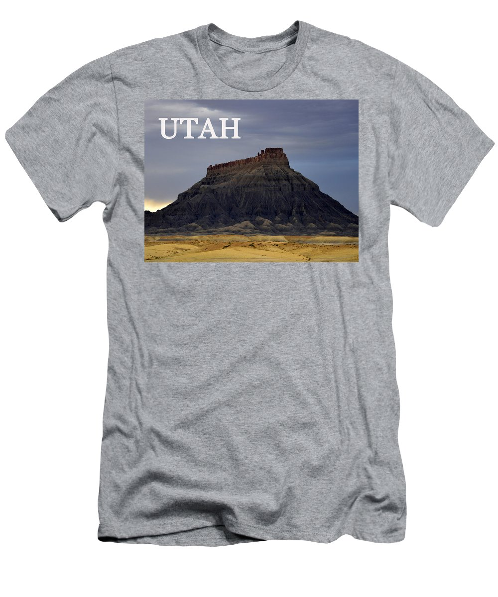 Utah Men's T-Shirt (Athletic Fit) featuring the photograph Utah Landscape Factory Butte by David Lee Thompson