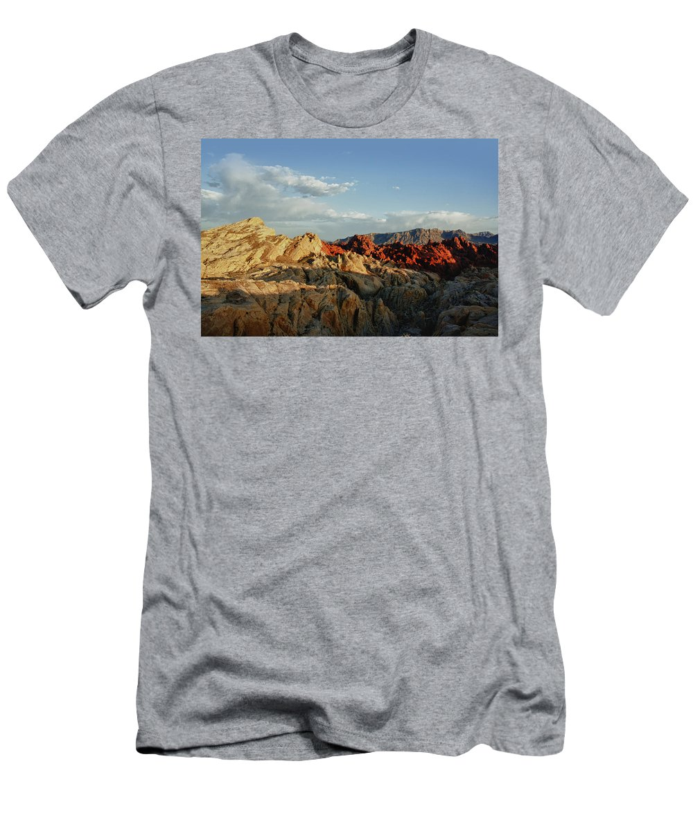 Valley Of Fire State Park Men's T-Shirt (Athletic Fit) featuring the photograph Valley Of Fire by Linda Dunn