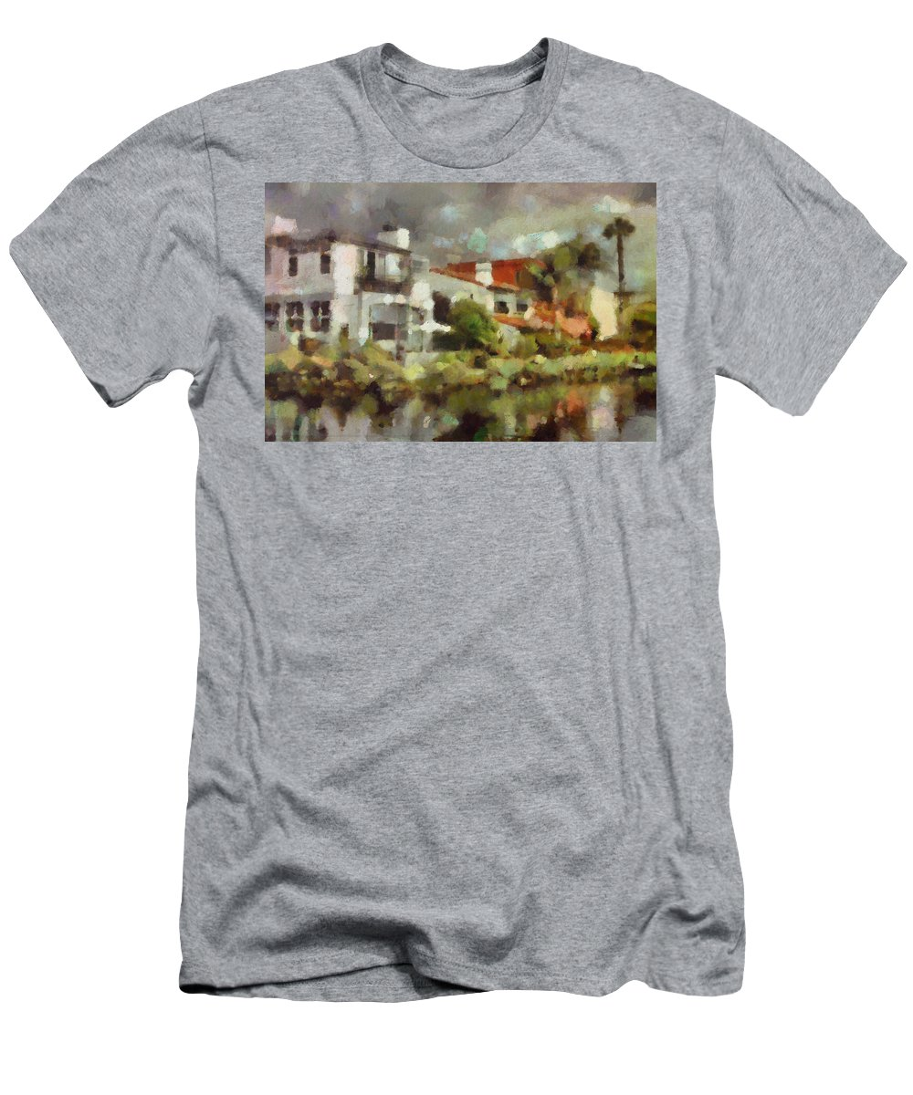 Venice California Men's T-Shirt (Athletic Fit) featuring the painting Venice California 6 by Janice MacLellan