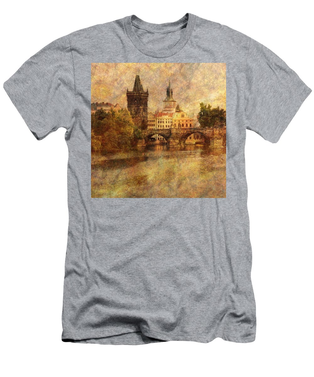 Prague Men's T-Shirt (Athletic Fit) featuring the photograph View Of Prague by Greg Matchick